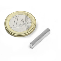 Parall�l�pip�dique magn�tique 20x4x3mm, n�odyme, N48, nickel�